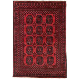 Ecarpetgallery Hand-knotted Khal Mohammadi Black and Red Wool Rug (6'6 x 9'5)