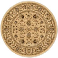 "Home Dynamix Triumph Collection Traditional Burgundy Round Area Rug (35.4"" )"