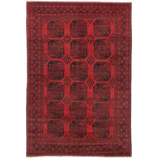 Ecarpetgallery Hand-knotted Khal Mohammadi Black and Red Wool Rug (6'4 x 9'3)