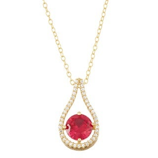 Gioelli Gold over Silver Created Ruby Tear-drop Pendant