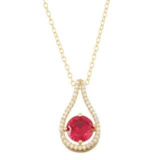 Gioelli Gold over Silver Created Ruby Tear-drop Pendant|https://ak1.ostkcdn.com/images/products/11686836/P18612787.jpg?impolicy=medium