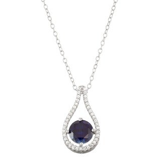 Gioelli Sterling Silver Created Sapphire Tear-drop Pendant