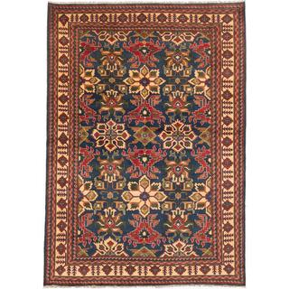 Ecarpetgallery Hand-knotted Finest Kargahi Blue and Brown Wool Rug (7' x 9'10)