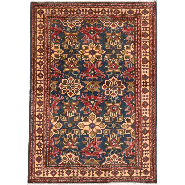Ecarpetgallery Hand-knotted Finest Kargahi Blue and Brown Wool Rug - 7' x 9'10