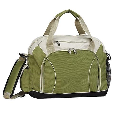 Business Light Weight Organizer Eco Green Recycled PET U-shape Zippered Mesh Briefcase Bag w/ shoulder strap