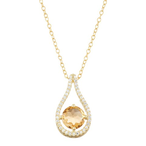 Gioelli Gold over Silver Citrine Tear-drop Pendant
