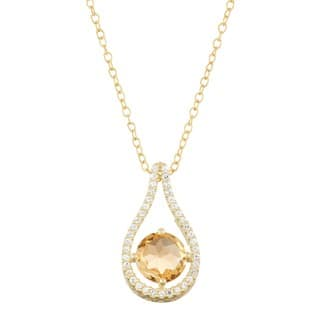 Gioelli Gold over Silver Citrine Tear-drop Pendant|https://ak1.ostkcdn.com/images/products/11686872/P18612789.jpg?impolicy=medium