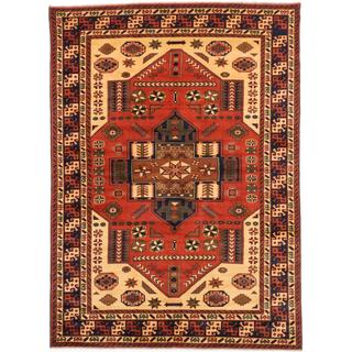 Ecarpetgallery Hand-knotted Finest Kargahi Beige and Brown Wool Rug (6'11 x 9'5)
