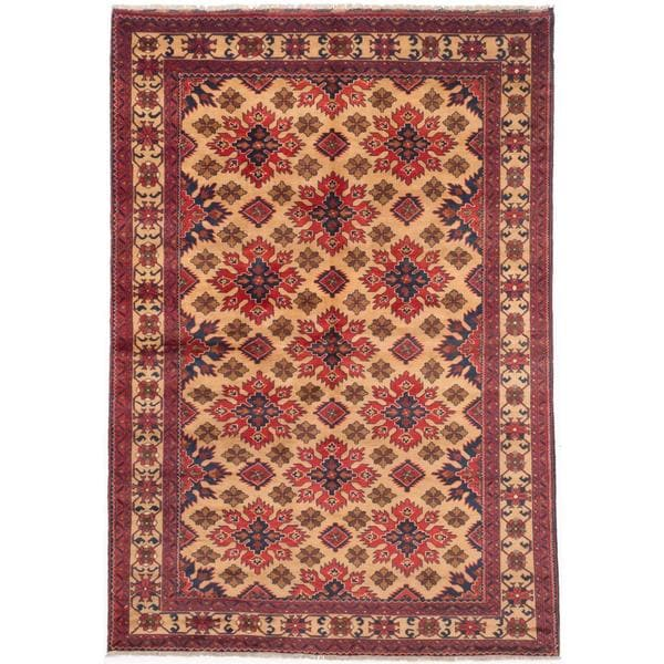 Ecarpetgallery Hand-knotted Finest Kargahi Beige and Brown Wool Rug (6'6 x 9'4)