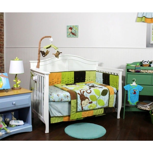 Swinging Monkeys 4-piece Nusery Bedding and Bumper Set