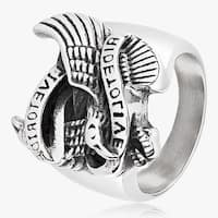 "Men's Stainless Steel ""Live to Ride, Ride to Live"" Eagle Cast Ring - 23mm Wide"