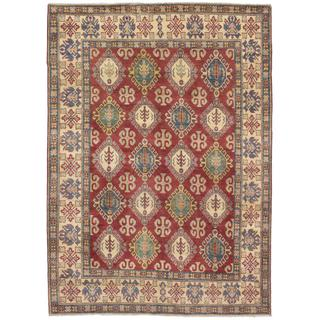 Ecarpetgallery Hand-knotted Uzbek Gazni Red and Yellow Wool Rug (6'5 x 8'8)