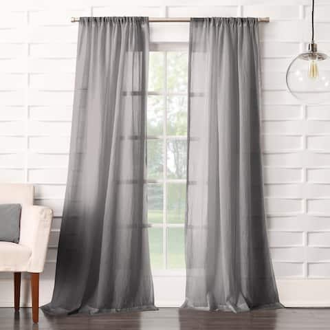 No. 918 Ladonna Rod Pocket Solid Semi-Sheer Window Curtain Panel
