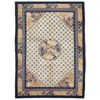 Ecarpetgallery Hand-knotted Savonnerie Beige and Blue Wool Rug (7'1 x 9'9)