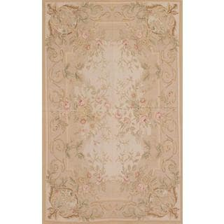 Ecarpetgallery Hand-knotted French Tapestry Beige Wool Sumak (5'1 x 8'2)