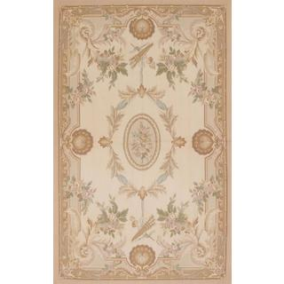 Ecarpetgallery Hand-knotted French Tapestry Beige Wool Sumak (5' x 8'1)