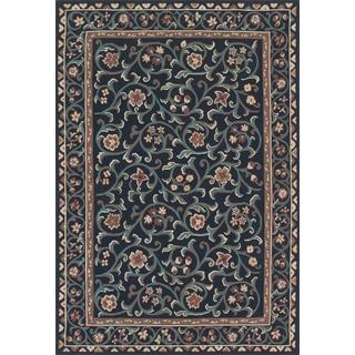Ecarpetgallery Hand-knotted French Tapestry Black and Green Wool Sumak (6' x 9')