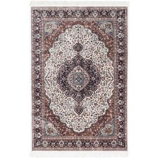 Ecarpetgallery Hand-knotted Kashmir Beige Silk Rug (5'11 x 8'11)