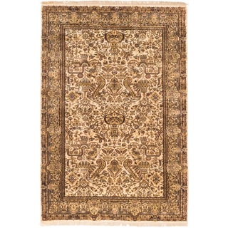 Ecarpetgallery Hand-knotted Jamshidpour Beige Wool Rug (6' x 8'10)