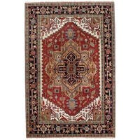 Ecarpetgallery Hand-knotted Serapi Heritage Beige and Red Wool Rug (6' x 9')
