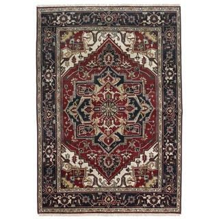 Ecarpetgallery Hand-knotted Serapi Heritage Blue and Red Wool Rug (6' x 8'10)