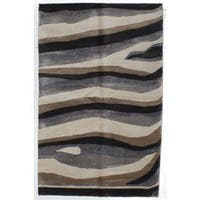 Ecarpetgallery Hand-knotted Jules Ushak Beige and Grey Art Silk Rug (5'2 x 8'2)