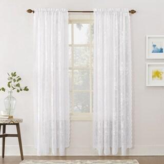 No. 918 Alison Rod Pocket Lace Window Curtain Panel (58 w x 63 l - White)