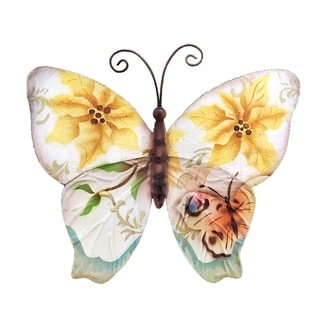 Handmade Wall Butterfly with Small Sunflowers and Pearls (Philippines) - 6 x 1 x 6