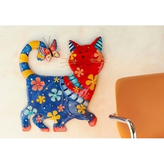 Cat Blue and Red Garden Decoration