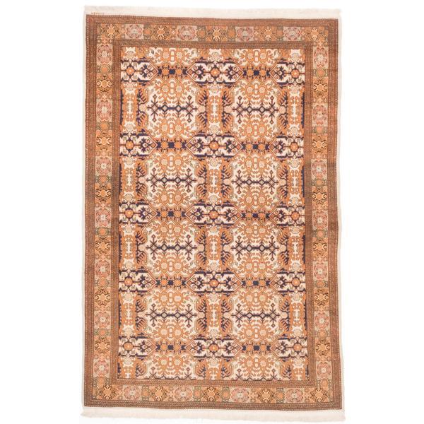 Ecarpetgallery Hand-knotted Hereke Beige and Brown Wool Rug (5'5 x 8'5)