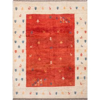 Ecarpetgallery Hand-knotted Persian Gabbeh Beige and Red Wool Rug (7'6 x 9'7)