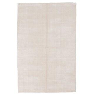 Ecarpetgallery Hand-knotted Shimmer Beige Art Silk Rug (5' x 8')