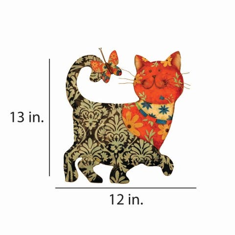 Cat Black and Red Garden Decoration - 12 x 1 x 13
