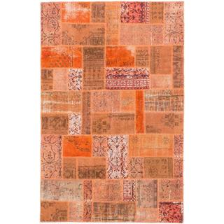 Ecarpetgallery Hand-knotted Color Transition Patch Orange Wool Rug (5'7 x 8'6)