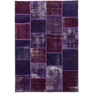 Ecarpetgallery Hand-knotted Color Transition Patch Purple Wool Rug (5'7 x 8')