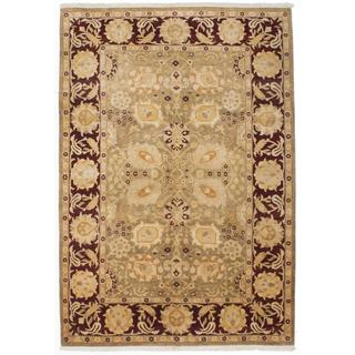Ecarpetgallery Hand-knotted Peshawar Oushak Beige and Red Wool Rug (6' x 8'11)