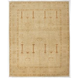 Ecarpetgallery Hand-knotted Peshawar Oushak Beige and Yellow Wool Rug (7'11 x 9'9)