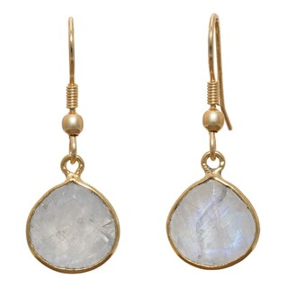 Handmade Gold Overlay Rainbow Moonstone Dangle Earrings (India) - White