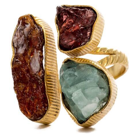 Goldplated Kyanite Garnet Fluorite Adjustable Ring (India)