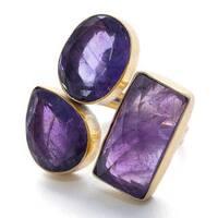 Handmade Gold-Overlay Triple Amethyst Ring (India) - Purple