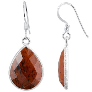 Orchid Jewelry Sterling Silver 14 1/5ct. Mahogany Obsidian Gemstone Dangle Earrings