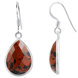 Orchid Jewelry Sterling Silver 13ct. Mahogany Obsidian Gemstone Dangle Earrings