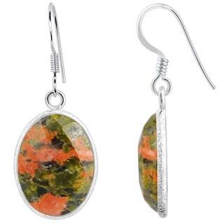 Orchid Jewelry Sterling Silver 16 2/3ct. Unakite Jasper Gemstone Dangle Earrings