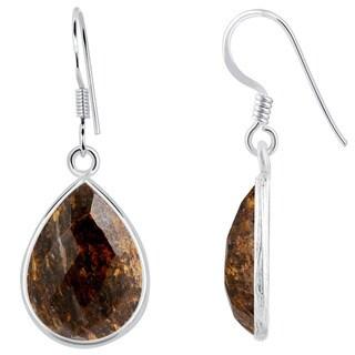 Orchid Jewelry Sterling Silver 17 1/2ct Bronzite Jasper Gemstone Dangle Earrings