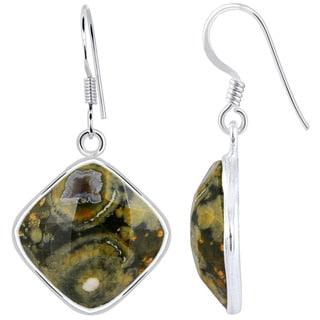 Orchid Jewelry .925 Sterling Silver 17 2/5ct. Cushion-cut Rhyolite Jasper Gemstone Drop Earrings