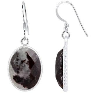 Orchid Jewelry .925 Sterling Silver 15 1/2ct. Oval-cut Outback Jasper Gemstone Drop Earrings