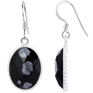 Orchid Jewelry .925 Sterling Silver 12 1/2ct. Oval-cut Snowflake Obsidian Gemstone Drop Earrings