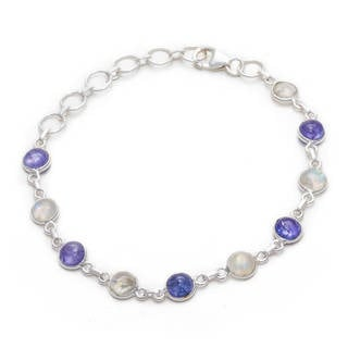 Sitara Collections Sterling Silver Rainbow Moonstone and Lapiz Lazuli Link Bracelet (India)