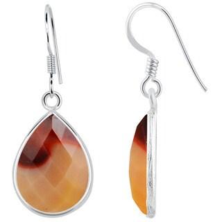 Orchid Jewelry .925 Sterling Silver 14 1/2ct. Mookaite Jasper Gemstone Drop Earrings