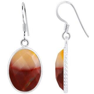 Orchid Jewelry .925 Sterling Silver 14ct. Mookaite Jasper Gemstone Drop Earrings